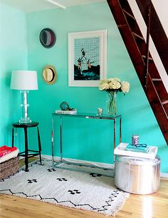 Color Crush Aqua Updated Shelf Styling Ombre Wallsombre Paintdiy