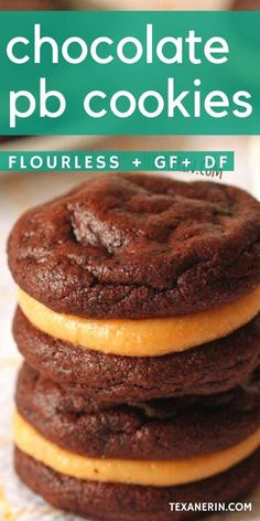 These flourless chocolate peanut butter cookie sandwiches are super fudgy and rich and happen to be grain-free, gluten-free and dairy-free! An amazing gluten-free cookie recipe. #glutenfree #grainfree #flourless #cookies #peanutbutter Gluten Free Cookie Recipes, Gluten Free Cookies, Gluten Free Desserts, Baking Recipes, Healthier Desserts, Köstliche Desserts, Delicious Desserts, Dessert Recipes, Paleo Dessert