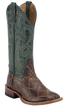 Anderson Bean® Horse Power™ Men's Brown Ostrich Print Patchwork w/ Turquoise Top Square Toe Western Boots | Cavender's