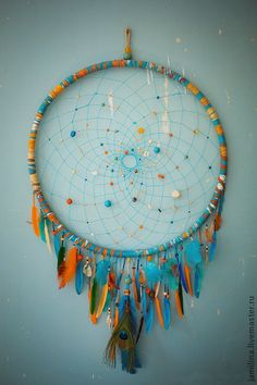 Orange turquoise Dreamcatcher, cm, Dream Catcher Large Dreamcatcher, New Dream сatcher, dreamcatcher boho dreamcatchers - DIY Geschenke 2019 Los Dreamcatchers, Large Dream Catcher, Dream Catchers, Dream Catcher Craft, Dream Catcher Mobile, Craft Projects, Projects To Try, Diy And Crafts, Arts And Crafts