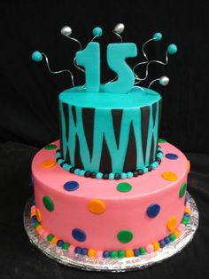 You wouldn't think two completely different tiers, one blue and black stripes and the other pink with blue, yellow, would work together, but we made it possible for this Sweet 15. @PartyFlavors #PartyFlavors