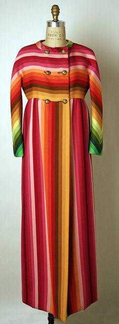 60s rainbow ethnic mod boho mexican blanket look Valentino - Coat, Evening (1966)