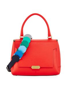 ANYA HINDMARCH Bathurst Small Leather Satchel Bag, Red. #anyahindmarch #bags #shoulder bags #hand bags #lining #satchel #suede #