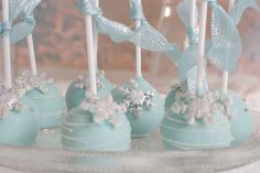 Stunning cake pops from a Frozen girl birthday party! See more party planning ideas at CatchMyParty.com!
