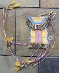 Non Native Made Sioux Plains Indian Style Strike A Light Quilled and Beaded Bag. - unknown maker
