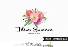 Instant Download PSD Logo Template DIY Watercolor Floral Logo Photoshop Logo Premade