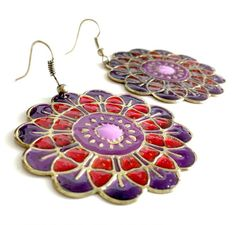 Mandala Earrings  Red and Purple by EridaneasBoutique on Etsy, $18.00