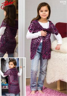 Granny square cardigan. Crochet it with our brand new yarn Ronja. Virkning  Baby c8d5758b17368