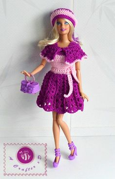 crochet fashion doll tank dress, crochet Barbie dress, crochet Barbie dress free pattern