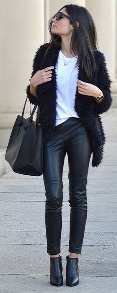 Federica L. + shaggy faux fur jacket + leather leggings + plain white tee + cute winter look  Coat: Gold & Silver, T-shirt/Pants/Boots: Zara.