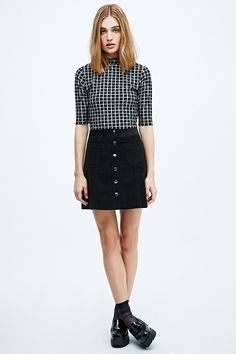 Cooperative A-Line Cord Skirt in Black