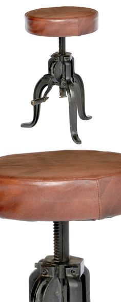 Industrial construction meets rustic charm with our Meriwether Bar Stool. This eclectic style blends a padded faux leather seat with a cast iron tripod base. Even better, a bold side handle allows for ...  Find the Meriwether Bar Stool, as seen in the 3 Tricks for a Lighter Steampunk Style Collection at http://dotandbo.com/collections/3-tricks-for-a-lighter-steampunk-style?utm_source=pinterest&utm_medium=organic&db_sku=118929