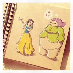 Some adorable art from DeeeSkye on Deviant Art of Baymax with some of the Disney princesses. Snow White. [For more Disney tips, secrets, pics, etc., please visit my blog: http://grown-up-disney-kid.tumblr.com/ ]