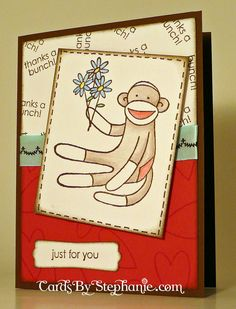 Sock Monkey Thank You Card made with a Stampin' Up! Stamp and Label Punch