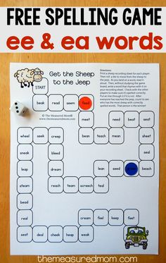 Want to help your speller master those ee and ea words? Try this free printable game!