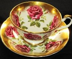 Paragon English RED Rose Roses  Tea cup and saucer by AestheticsComposer