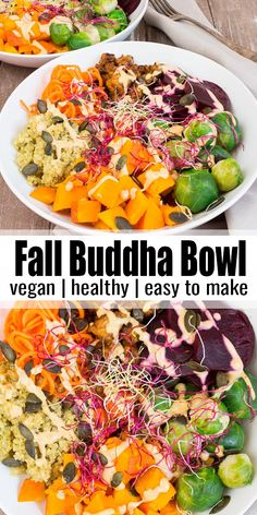 This vegan buddha bowl with quinoa, pumpkin, and BBQ tempeh is not only super delicious but also packed with nutrients! It's topped with a creamy cashew sauce that makes it even healthie Vegan Dinner Recipes, Delicious Vegan Recipes, Vegan Dinners, Lunch Recipes, Fall Recipes, Whole Food Recipes, Vegetarian Recipes, Healthy Recipes, Alkaline Recipes