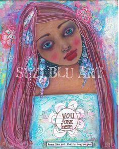Suzi Blu You Are Here Embellished Mixed Media Print by by SuziBlu