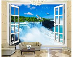 Personalizado wallpaper 3d 3d tv murales de papel de pared 3d super ventana foto fondo de la pared cascada paisaje fuera de la ventana(China (Mainland))