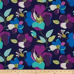 "7. Michael Miller Daydream Best Buds Navy from @fabricdotcom 44"" wide (need  2 Yards) $9.20/yard Designed by Swirly Girl Designs for Michael Miller, this fabric is perfect for quilting, apparel and home décor accents. Colors include plum, purple, mint, teal, cream and lime on a navy background."