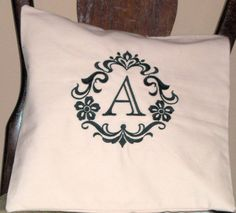 Pillow Cover Damask Initial Pillow Cover Cotton Pillow