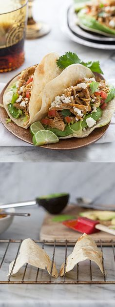 Stewed Chicken Tacos and my trick for making baked taco shells at home | foodiecrush.com