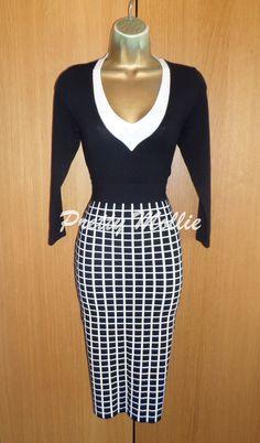 Stunning Karen Millen Black & White Jumper Dress Sz4 UK 14 Pencil Office in Clothes, Shoes & Accessories, Women's Clothing, Dresses | eBay