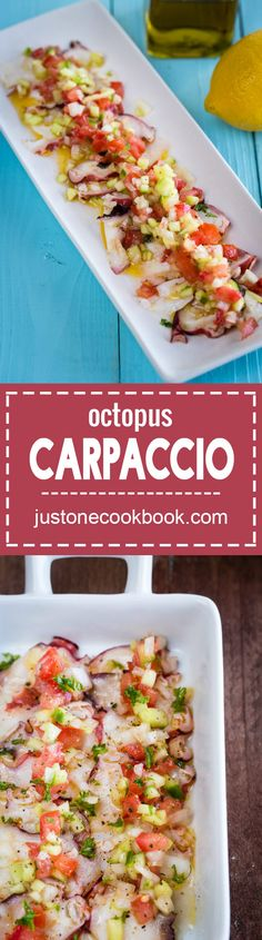 Delicious octopus carpaccio with thinly sliced octopus drizzled with lemon and olive oil, topped with chopped cucumber, tomato, and sweet onion. Octopus Recipes, Fish Recipes, Seafood Recipes, Asian Recipes, Cooking Recipes, Healthy Recipes, Ethnic Recipes, Game Recipes, Vietnamese Recipes