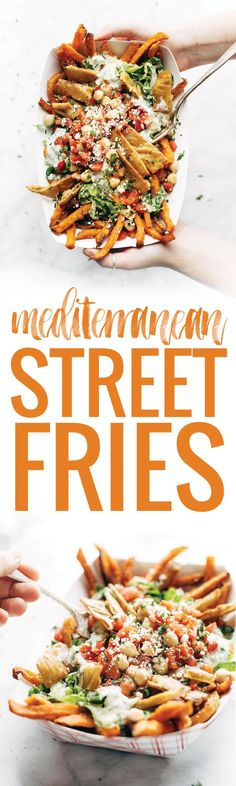 Loaded Mediterranean Street Fries Loaded Mediterranean Street Cart Fries sweet potato fries topped with fresh romaine tzatziki marinated tomatoes and chickpeas feta cheese and more Meatless and mind-blowing all in one pinchofyum Vegetarian Recipes, Cooking Recipes, Healthy Recipes, Sweet Recipes, Marinated Tomatoes, Cheese Chips, Tzatziki, Mediterranean Diet Recipes, Hamburgers