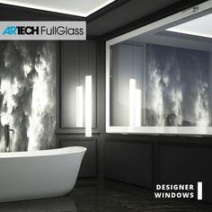 white luxury windows, painter glass window, black and white bathroom Modern Windows, Big Windows, White Bathroom, Bathroom Modern, Entrance Doors, Terrace, Bathtub, Glamour, Black And White