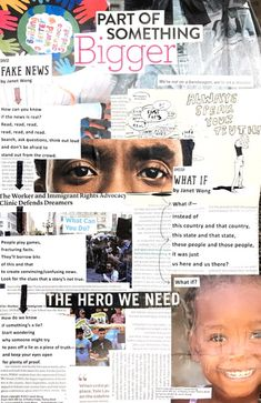 """Ella N. at SUNY-Cortland created this powerful poem collage for """"Fake News"""" by Janet Wong (from HERE WE GO: A Poetry Friday Power Book published by Pomelo Books 2017)"""