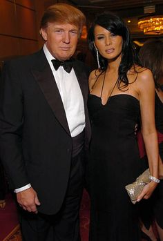 Donald Trump and Melania Knauss during Entertainment Industry Foundation's Colon Cancer Benefit on the QM2 VIP Cocktail Hour at Queen Mary 2 in New...