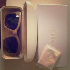 """Chloé Cat Eye Sunglasses Chloé sunglasses from SoHo Store in NYC. Perfect condition and very new! Beige plastic frames and gold embellishment.  Lens width 55mm, bridge 19mm, arm 135mm, 2"""" high Chloe Accessories Sunglasses"""