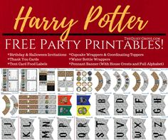 The free printable Harry Potter set includes everything you need to decorate your party, including a free printable Harry Potter banner, invitations, tented cards, water bottle labels, cupcake toppers and wrappers and more!