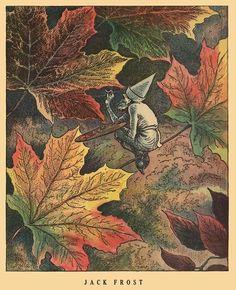 Jack Frost paints autumn leaves.