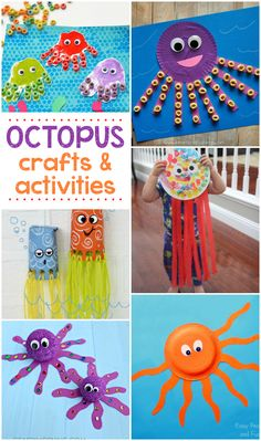16 Fun Octopus Crafts & Activities- great for an ocean or under the sea theme. Crafts For Kids To Make, Projects For Kids, Art For Kids, Craft Projects, Arts And Crafts For Kids Easy, Sea Activities, Craft Activities For Kids, Preschool Crafts, Indoor Activities