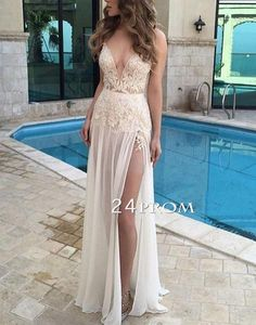 Unique v neck chiffon lace long prom dress for teens, modest prom dress long