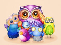 Cute Funny Owls - Too Many Kids - NEW Illustration Painting by Annya Kai