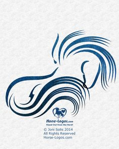 Horse Graphic - Mane Fling by Joni Solis -- horse logo design with the feel of action. Shown with watercolor treatment. Feedback is welcome. Thanks! #horselogo #horse #design