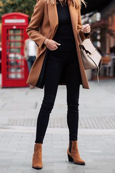 Woman Wearing Zara Camel Coat Black Sweater Black Skinny Jeans Tan Booties Outfit Celine B. Booties Outfit, Tan Booties, Celine Belt, Mode Outfits, Casual Outfits, Latest Fashion For Women, Womens Fashion, Fashion Trends, Petite Fashion