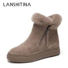 e676ff9675a Fashion Snow Boots 2018 New Winter Short Boots Warm Women Ankle Boots Women  Flock Shoes Zipper Cotton Flats Platform Fur Boots