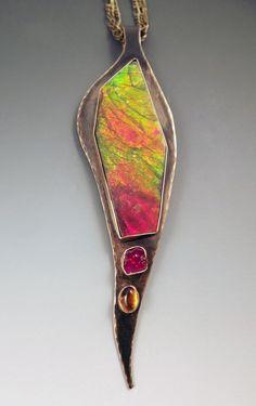 Ammolite Ruby and Amber Metal Art Smokey Bronze by RedPaw