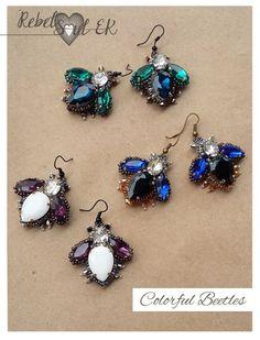 butterfly earrings insect dangle crystal jewelry by RebelSoulEK