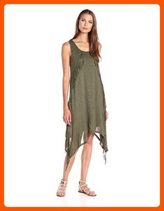 Kensie Women's Sheer Viscose Dress with Fringe, Heather Olive, X-Large - All about women (*Amazon Partner-Link)