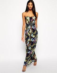 Little Mistress Plus Size Bandeau Print Maxi Dress with Plunge Neck - multi