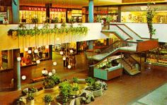 A 1967 view of the Garden Court at Southdale Center, Minneapolis. Opened in 1956, Southdale was the first fully-enclosed, climate-controlled...