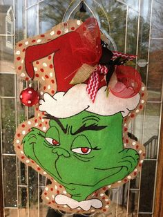 Grinch burlap with Christmas ornament