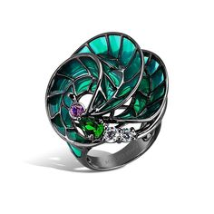 Kaleidoscope - Amethyst and Emerald Seascape Ring