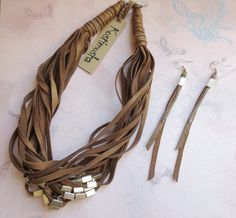 Leather Jewelry Set Brown Leather Necklace & Long от Kostimusha, $77.00