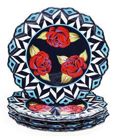 Look at this #zulilyfind! Rose Dinner Plate - Set of Four #zulilyfinds